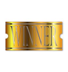 Winner ticket in gold vector