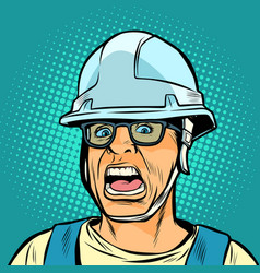 worker in a helmet screaming danger fright vector image