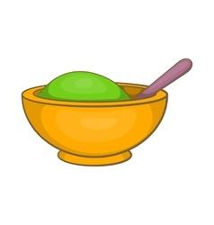 Yellow mortar and pestle icon cartoon style vector