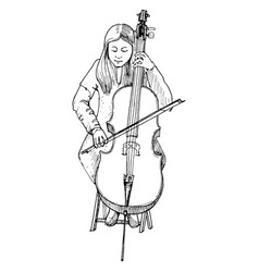 young girl playing the cello cellist vector image