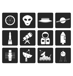 Black Astronautics and Space Icons vector image