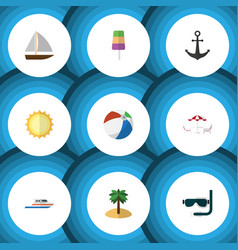 Flat icon season set of sundae coconut yacht and vector