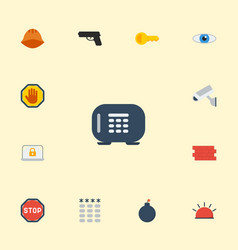 flat icons gun vision siren and other vector image vector image