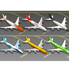 Isometric Airplanes in Six Livery in Front View vector image vector image