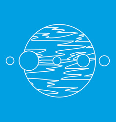 planet and moons icon outline style vector image