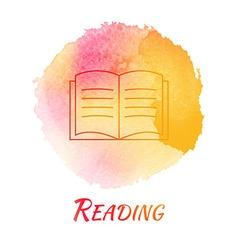 Reading book watercolor concept vector