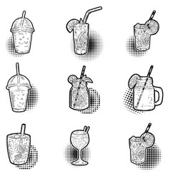 set of hand drawn cocktail icons design elements vector image vector image