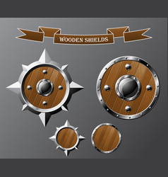 set of realistic wooden shields vector image vector image