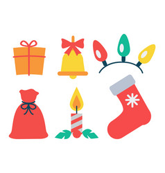 christmas icon collection vector image