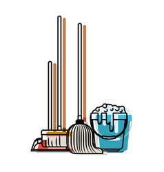 Dustpan and broom and mop and bucket with water vector