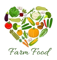 Farm Food vegetables icons in heart shape vector image