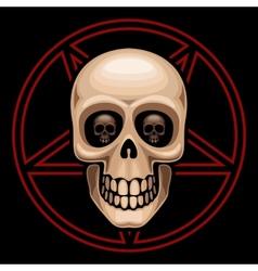 Skull and pentagram vector image
