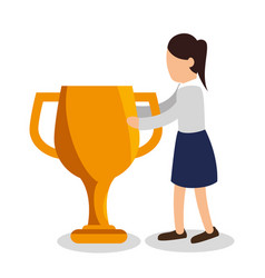 Business people with trophy award training icon vector