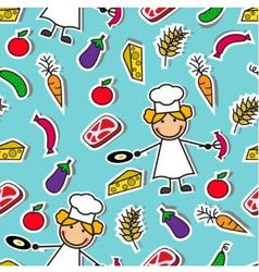 Cartoon seamless pattern with chef and food vector image