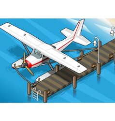 Isometric Seaplane Moored at the Pier in Front vector image vector image