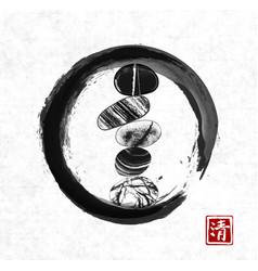 pebble zen stones balance in black enso zen circle vector image