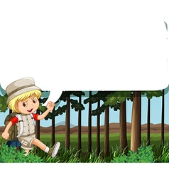 Border design with boy camping out vector image vector image