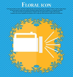 flashlight icon sign Floral flat design on a blue vector image