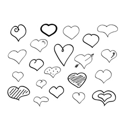 Hand-drawn doodle hearts vector image vector image