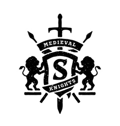 Heraldic emblems shields lions and swords vector image