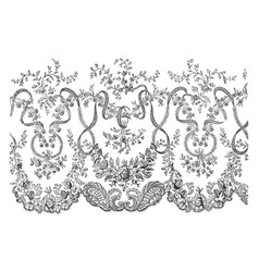 lace veil this is a portion of the border vintage vector image