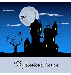 Misterious house in the dark night halloween vector