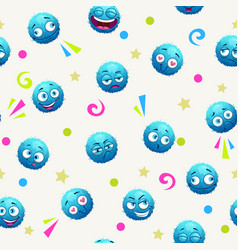 seamless pattern with funny blue round characters vector image