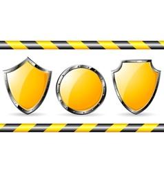 yellow steel shields vector image vector image
