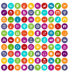100 settings icons set color vector