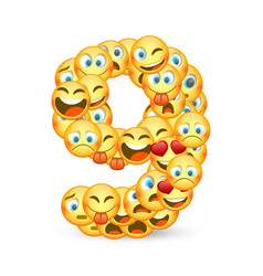 A set emoticons shaped as nine number vector