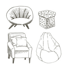 A set of different types of the chairs and vector