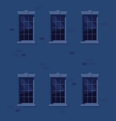 Apartment wall exterior at night vector