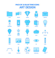 art and design blue tone icon pack - 25 icon sets vector image