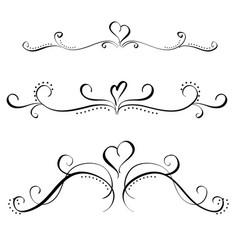Art calligraphy set of vintage decorative whorls vector