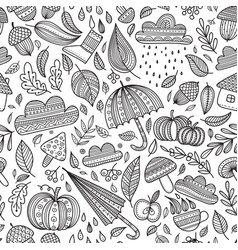 Autumn seamless pattern colorless vector