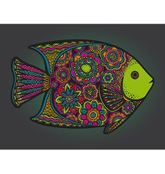 Beautiful colorful hand drawn fish vector