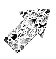 Big arrow shape made with small arrows vector image