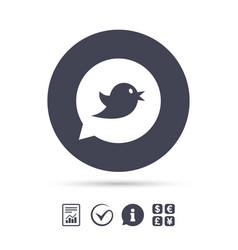 Bird sign icon social media symbol vector