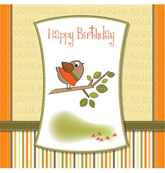 birthday greeting card with funny little bird vector image