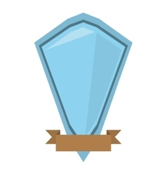 Blue shield diamond with brown ribbon vector