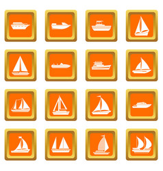 Boat and ship icons set orange vector