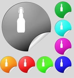 bottle icon sign Set of eight multi colored round vector image