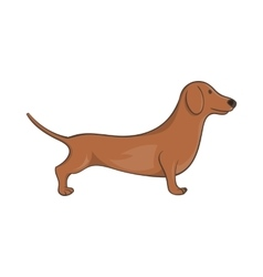 Brown dachshund dog icon cartoon style vector image