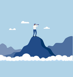 Business man standing on top of mountain above vector