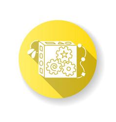 Busy cube flat yellow design long shadow glyph vector
