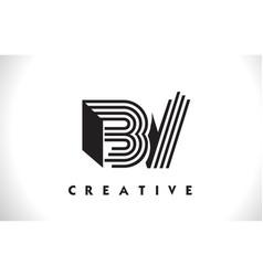 bv logo letter with black lines design line letter vector image