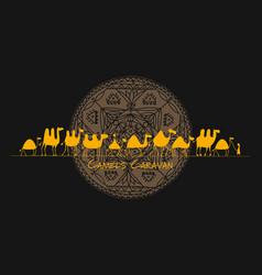 camels caravan sketch for your design vector image