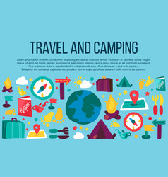 camping and travel cartoon banner with text space vector image
