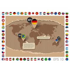 Cardboard template with world map and flags vector