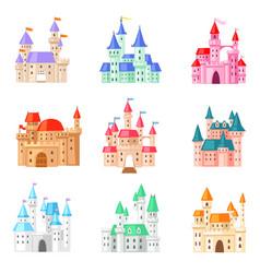 cartoon castle fairytale medieval tower vector image